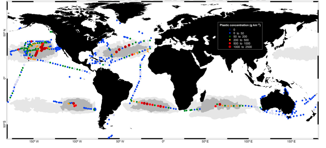 "A world map shows concentrations of plastic in the ocean. (Image credit: ""Plastic debris in the open ocean."" Cózar et. al.)"