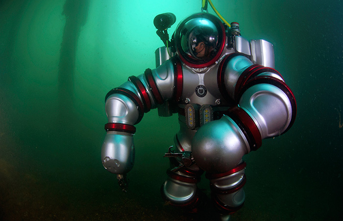 The 2014 expedition to the Antikythera shipwreck marks the experimental debut of a new robotic diving apparatus for use in marine archaeology—the Exosuit. (Courtesy of Brendan Foley, Woods Hole Oceanographic Institution)